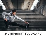 young man exercise in urban... | Shutterstock . vector #590691446