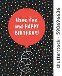fun birthday card design with... | Shutterstock .eps vector #590696636
