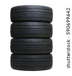 car tires isolated on white | Shutterstock . vector #590699642