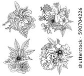 set of 4 vintage floral vector... | Shutterstock .eps vector #590704226