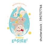 happy easter  cute easter bunny.... | Shutterstock .eps vector #590707766