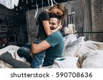 loving couple hug each other... | Shutterstock . vector #590708636