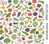 hand drawn vegetables vector... | Shutterstock .eps vector #590710718