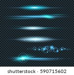 vector set of glow lightning... | Shutterstock .eps vector #590715602