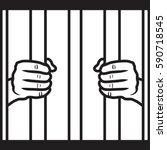 hands holding prison bars flat... | Shutterstock .eps vector #590718545
