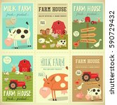 farm house posters set. farmers ... | Shutterstock .eps vector #590729432