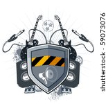 shield security with megaphone... | Shutterstock .eps vector #59073076