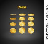 gold coins falling down. coin... | Shutterstock .eps vector #590732072
