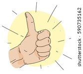thumb up  roughly colored... | Shutterstock .eps vector #590735162
