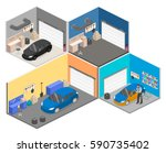 isometric flat 3d isolated... | Shutterstock .eps vector #590735402
