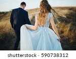 groom and bride in a wedding... | Shutterstock . vector #590738312