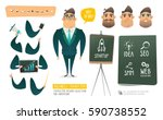 vector business man funny... | Shutterstock .eps vector #590738552