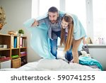 enthusiastic dad and his little ... | Shutterstock . vector #590741255