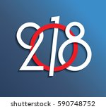 2018 happy new year or... | Shutterstock .eps vector #590748752