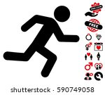 running man icon with bonus... | Shutterstock .eps vector #590749058