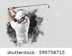 Golf Player With A White...