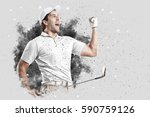 golf player with a white... | Shutterstock . vector #590759126