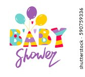 baby shower illustration with... | Shutterstock .eps vector #590759336