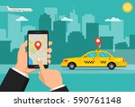 booking taxi via mobile app.... | Shutterstock .eps vector #590761148