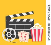 big movie reel open clapper... | Shutterstock .eps vector #590771636