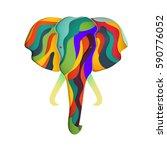 elephant in paper cut style.... | Shutterstock .eps vector #590776052