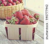 wicker basket with fresh ripe...   Shutterstock . vector #590777942