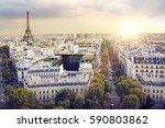 sunset eiffel tower and paris... | Shutterstock . vector #590803862