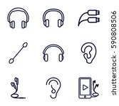 ear icons set. set of 9 ear...