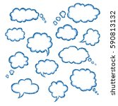 set of clouds of bubbles speech ... | Shutterstock .eps vector #590813132