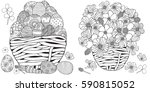 set of anti stress coloring... | Shutterstock .eps vector #590815052