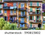 colorful facades with balconies ...   Shutterstock . vector #590815802