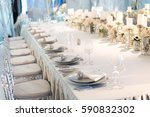 banquet table decor. candles in ... | Shutterstock . vector #590832302