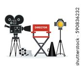 film directors chair with... | Shutterstock .eps vector #590836232