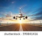 passengers airplane landing to... | Shutterstock . vector #590841416
