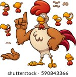 cartoon rooster with different...