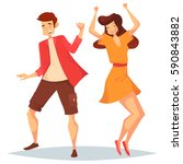 woman with raised hands and man ... | Shutterstock .eps vector #590843882
