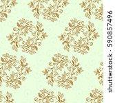 vegetable seamless paisley... | Shutterstock .eps vector #590857496