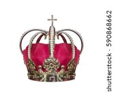 Gold crown with jewels isolated ...