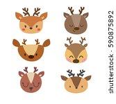 set of cute deers. funny doodle ... | Shutterstock .eps vector #590875892