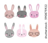 set of cute rabbits. funny... | Shutterstock .eps vector #590875922