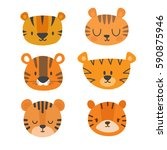 set of cute tigers. funny... | Shutterstock .eps vector #590875946