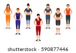 fitness people in sports wear.... | Shutterstock .eps vector #590877446