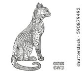 cat. design zentangle. hand... | Shutterstock .eps vector #590879492