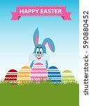 decorated easter eggs with... | Shutterstock . vector #590880452