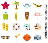 summer rest set icons in flat... | Shutterstock .eps vector #590880962