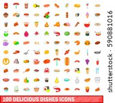 100 delicious dishes icons set... | Shutterstock .eps vector #590881016
