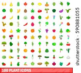 100 plant icons set in cartoon... | Shutterstock .eps vector #590881055