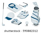 isometric golf colorful clothes ... | Shutterstock .eps vector #590882312