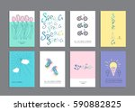 set of creative greeting cards  ... | Shutterstock .eps vector #590882825