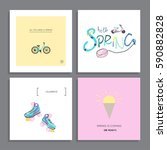set of creative greeting cards  ... | Shutterstock .eps vector #590882828